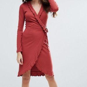 ASOS Rust Orange Long Sleeved Midi Wrap Dress S/6